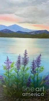 Lakeside sunset. by Peggy Miller