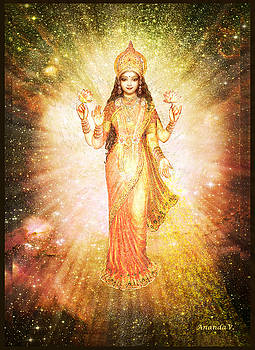 Lakshmi in a Galaxy, radiating pink light by Ananda Vdovic