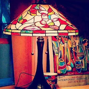 Lamp with poster by Arturo Cisneros