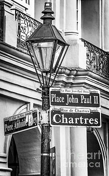 Kathleen K Parker - Lamppost and Rue - BW - NOLA