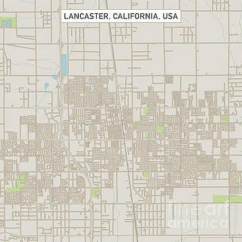 Lancaster California US City Street Map by Frank Ramspott