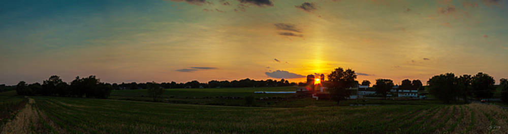 Lancaster Farm Sunset Panorama by Ed Cilley