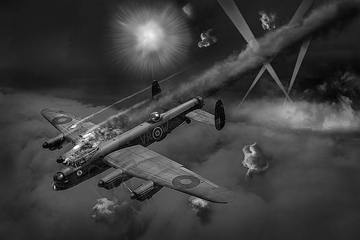 Lancaster KB799 under fire BW version by Gary Eason