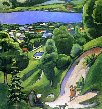Landscape on the Teggernsee with a Reading Man by August Macke