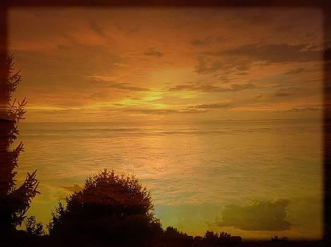 Landscape Over Sky And Ocean Sunrise by Debra Lynch