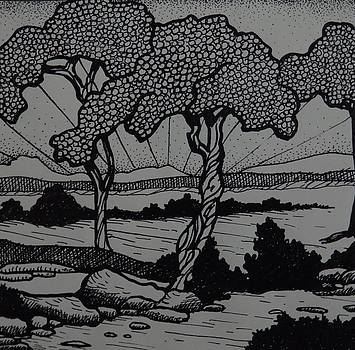 Landscape, Pen and Ink by Catherine Robertson