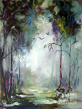 Landscape Portrait Wetland Misty Morning with Birds by Ginette Callaway