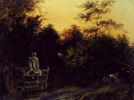 Williams William - Landscape With A Track And A Man Sitting On A Gate