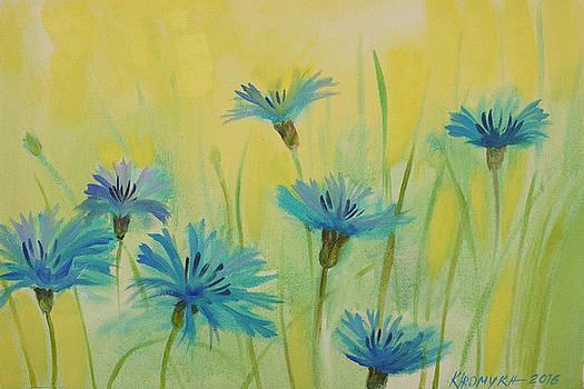 Landscape With Cornflowers by Khromykh Natalia
