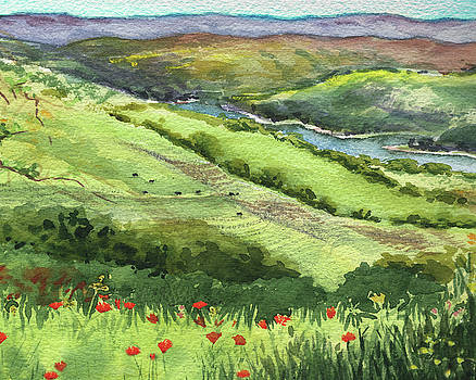 Landscape With Hills Creek And Flowers Watercolor by Irina Sztukowski