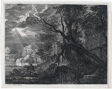 Aegidius Sadeler II -  Landscape with Men Fishing by Moonlight