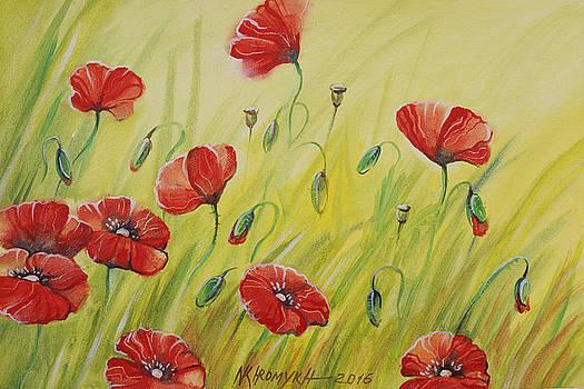 Landscape With Poppies-1 by Khromykh Natalia