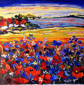 Landscape With Poppies by Maya Green