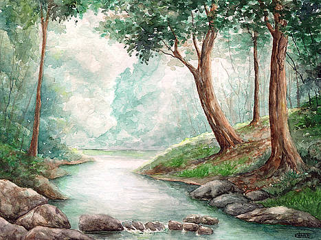 Landscape with river by Enaile D Siffert