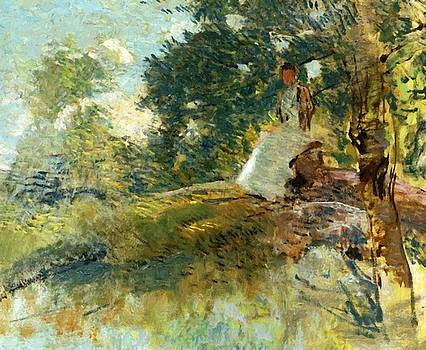 Weir Julian Alden - Landscape With Seated Figure