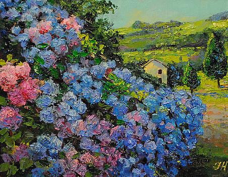 Landscape with the hydrangea. by Julia Utiasheva