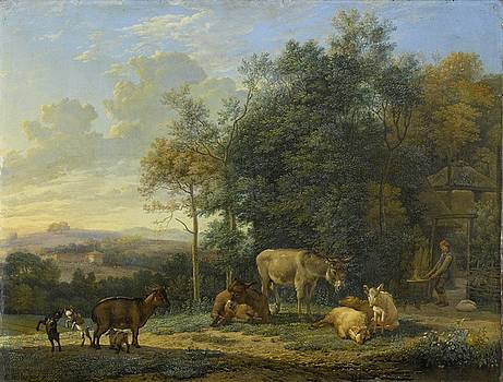 Landscape with Two Donkeys, Goats and Pigs by Karel Dujardin