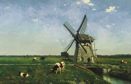 Weissenbruch Johan Hendrik - Landscape With Windmill Near Schiedam 1873