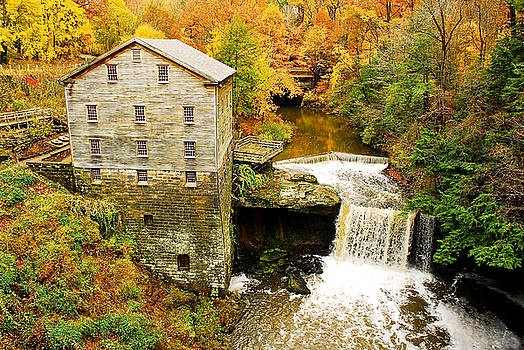 Lantermans Mill in Fall by Tony  Bazidlo