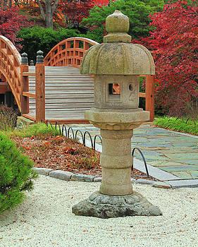 Lantern and Bridge In a Japanese Garden by Greg Matchick