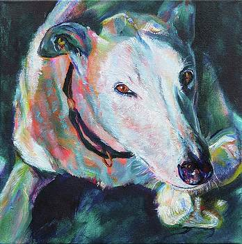 White greyhound in the Sun by Karin McCombe Jones