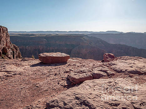 Large and Flat Red toned Rock With the Grand Canyon West Rim in  by PorqueNo Studios