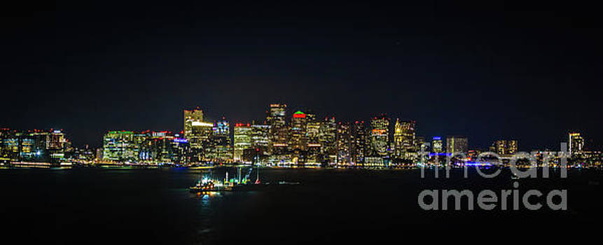 Large Panoramic of Downtown Boston at Night by PorqueNo Studios