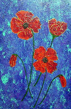Large Poppies on Blue by Jackie Hoeksema