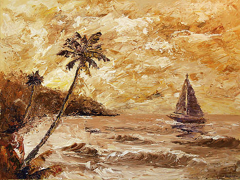 Large Sailboat on the Hawaiian Coast Oil Painting  by Mark Webster