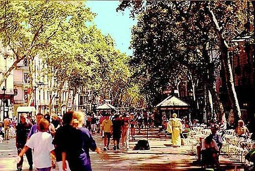 Las Ramblas Barcelona Spain by Lydia L Kramer