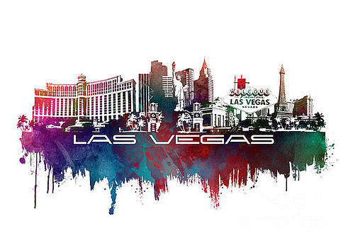 Justyna Jaszke JBJart - Las Vegas skyline city blue
