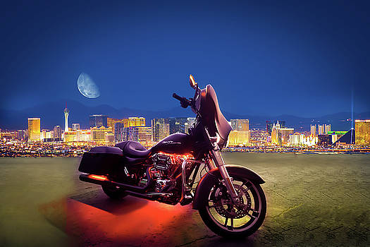 Las Vegas Strip, Motorcycle  and the Moon by David Thurau