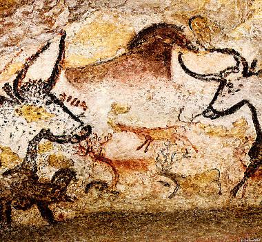 Weston Westmoreland - Lascaux Hall of the Bulls - Deer between Aurochs