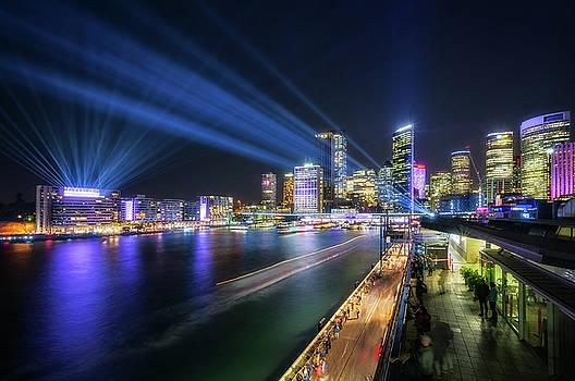 Laser Show above the Sydney Skyline by Daniela Constantinescu