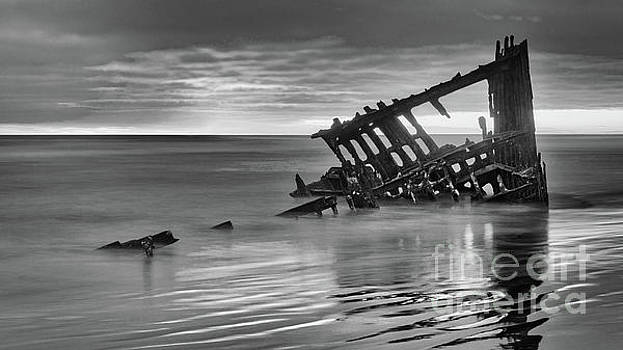 Last Light at the Peter Iredale bw by Jerry Fornarotto