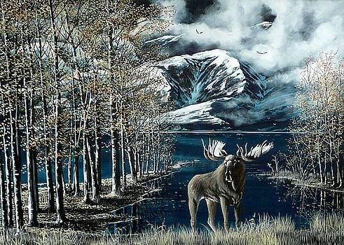 Last light Moose by Bob Patterson