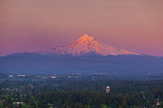 Last Light on Mount Hood from Rocky Butte by David Gn