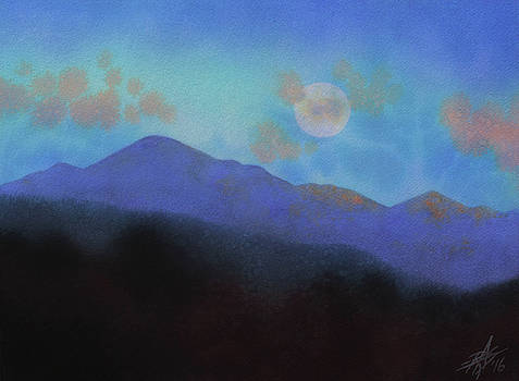 Last Light with Moonrise over Iron Mountain by Robin Street-Morris