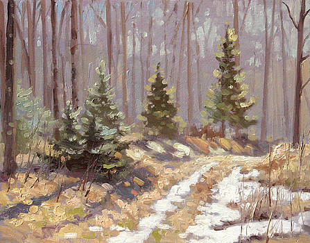 Last Sign of Winter- plein air by Larry Seiler
