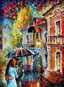 Last Stroll - PALETTE KNIFE Oil Painting On Canvas By Leonid Afremov by Leonid Afremov