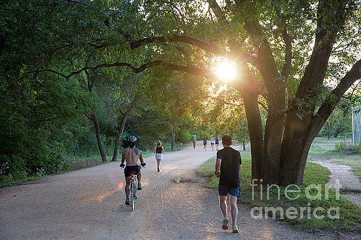 Herronstock Prints - Late afternoon sunshine filters through the tress as runners and bikers exercise
