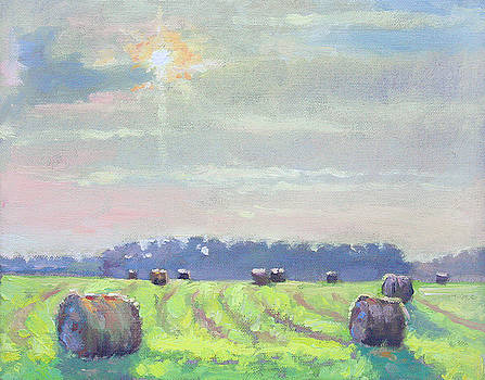 Late Sun Haybales- plein air by Larry Seiler