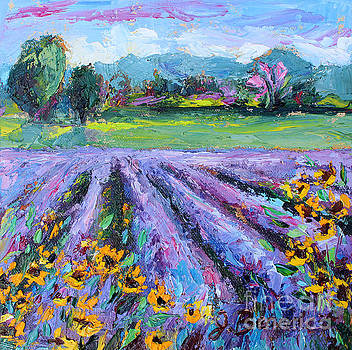 Lavender and Sunflowers in Bloom by Jennifer Beaudet