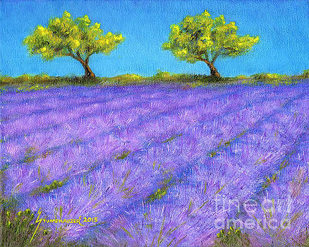 Lavender Field with Twin Oaks by Jerome Stumphauzer