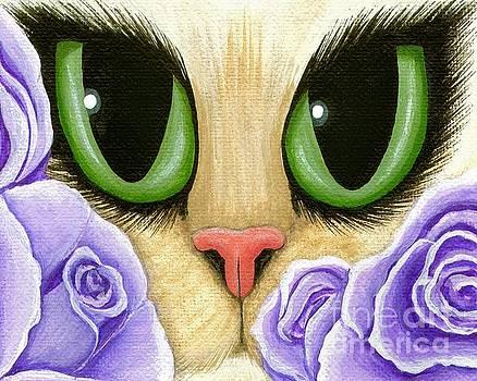 Lavender Roses Cat - Green Eyes by Carrie Hawks