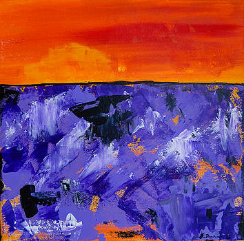Eliza Donovan - Lavender Sunset Abstract Landscape