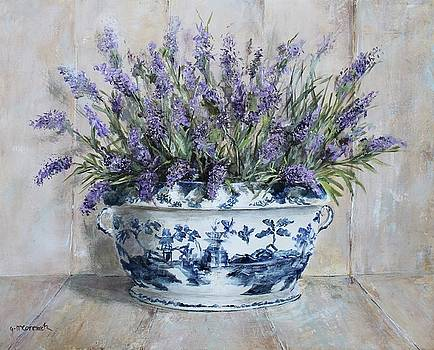 Lavenders in Blue and White Tureen by Gail McCormack