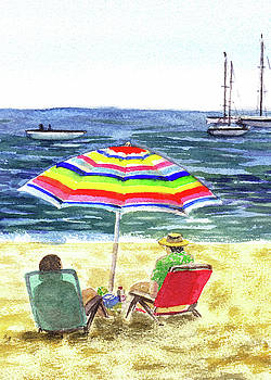 Lazy Times Summer Beach Ocean Shore by Irina Sztukowski