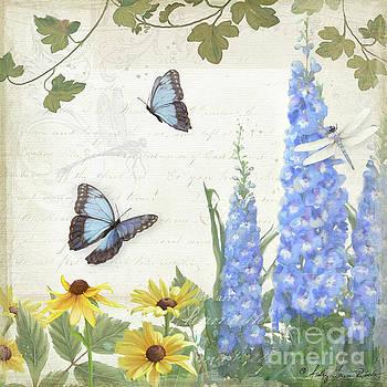Le Petit Jardin 1 - Garden Floral w Butterflies, Dragonflies, Daisies and Delphinium by Audrey Jeanne Roberts