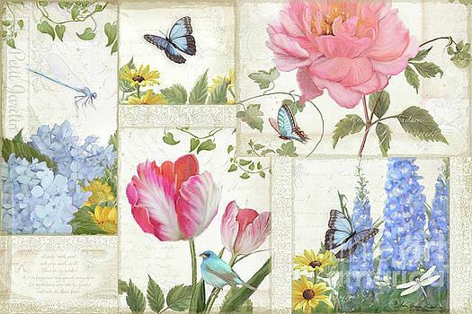 Le Petit Jardin - Collage Garden Floral w Butterflies, Dragonflies and Birds by Audrey Jeanne Roberts